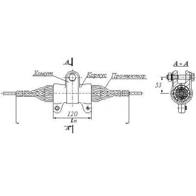 Зажим поддерживающий спиральный для кабеля 12,5-13,6 мм, 10 кн