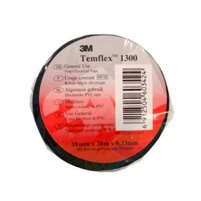 Лента Temflex™ 1300 лента изоляционная черная 18мм х 20м х 0,13мм